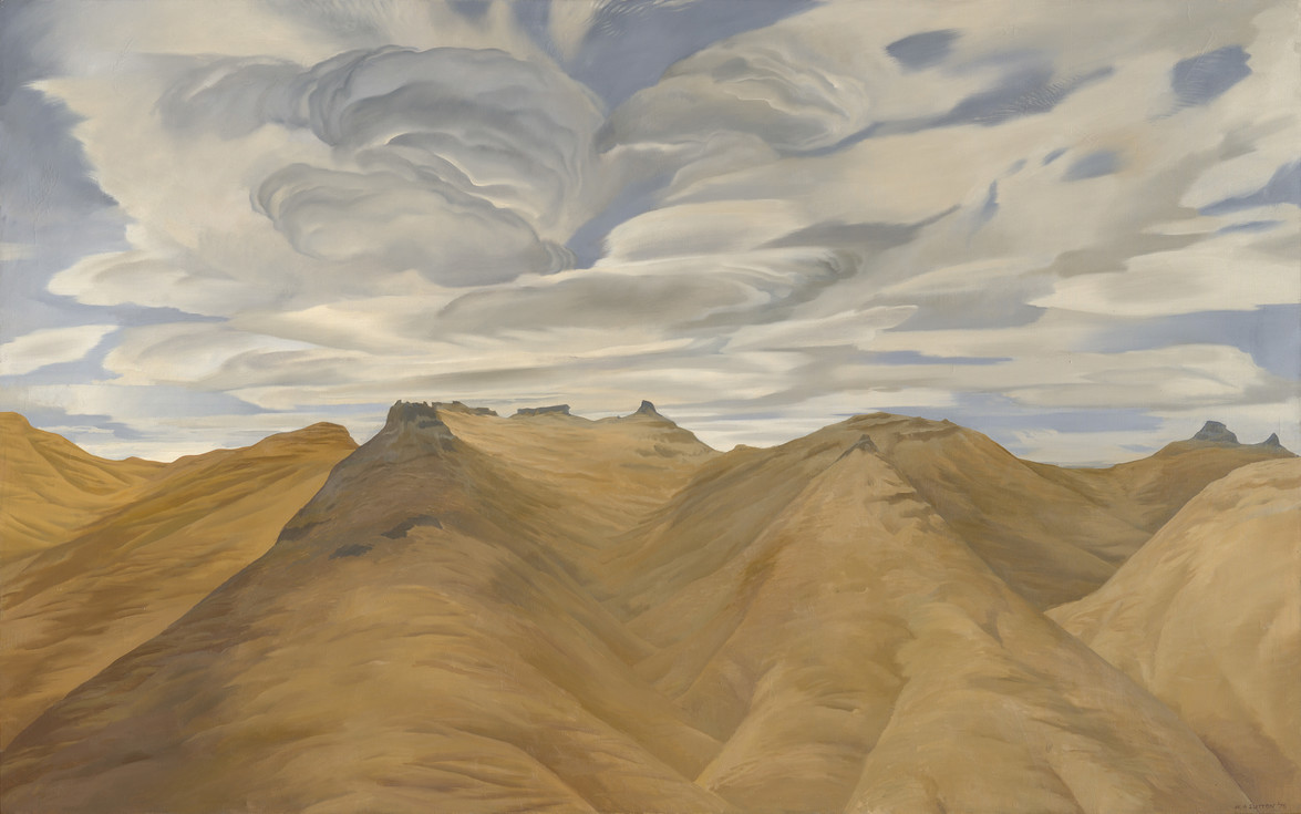 Bill Sutton Te Tihi o Kahukura and Sky, I 1976. Oil on canvas. Collection of Christchurch Art Gallery Te Puna o Waiwhetū, purchased 1980