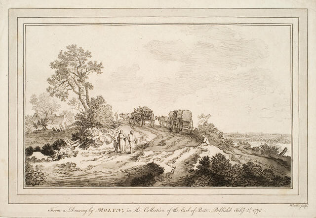 Horse Drawn Carts Climbing Short Hill In Landscape With Cottage (On Left) And Figures (Centre Foreground)