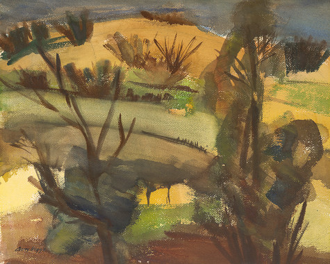 Avis Higgs Early Spring 1972. Watercolour on paper. Collection of Christchurch Art Gallery Te Puna o Waiwhetu, purchased 1972.