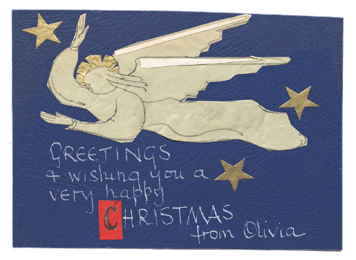 Christmas card from Olivia Spencer Bower. Folder 6c, Olivia Spencer Bower Archive, Robert and Barbara Stewart Library and Archive, Christchurch Art Gallery Te Puna o Waiwhetū