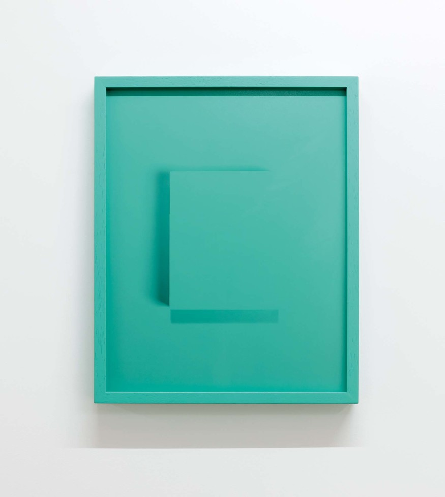 Shaun Waugh Drop-Shadow, Bluish Green 2016. Colour photograph, painted timber frame. Collection of the artist