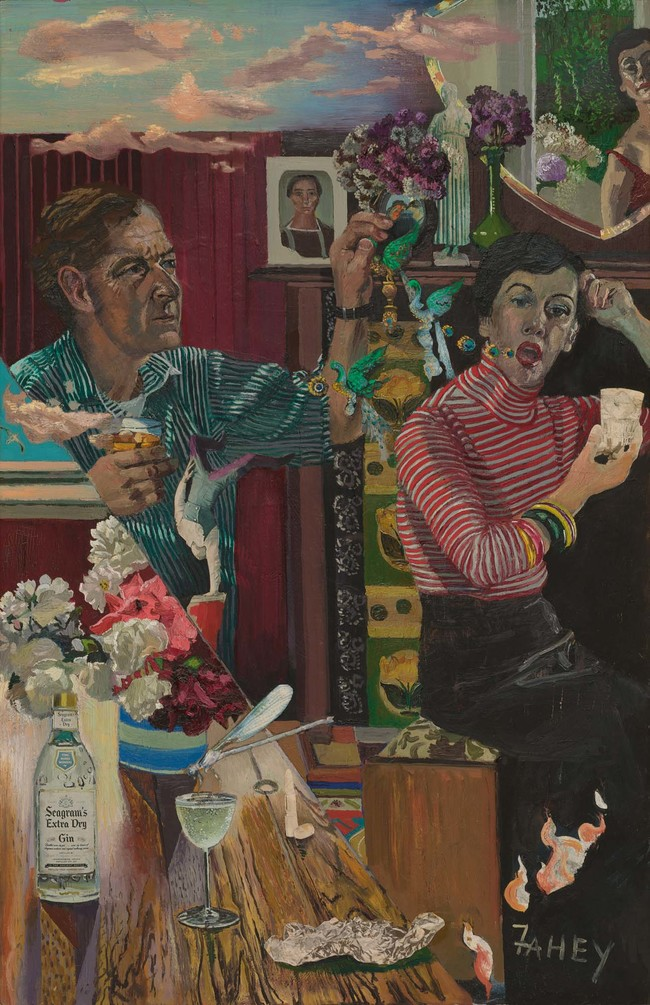 Jacqueline Fahey Drinking Couple: Fraser Analysing My Words 1978. Oil on board. The University of Auckland Art Collection
