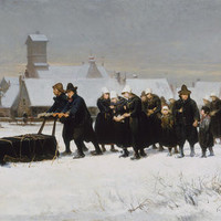 Burial in the winter on the island of Marken by Petrus van der Velden