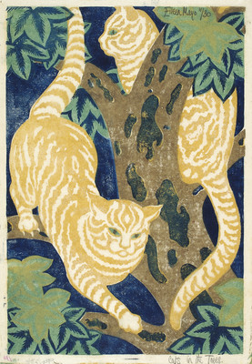 Eileen Mayo Cats in the trees 1931. Linocut. Collection of Christchurch Art Gallery Te Puna o Waiwhetū, presented by Mr Rex Nan Kivell 1953. Reproduced courtesy of Dr Jillian Cassidy