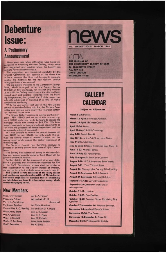 Canterbury Society of Arts News, number 24, March 1969