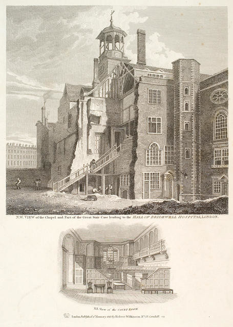 N.W. View of the Chapel and Part of the Great Stair-Case leading to the Hall of Bridewell Hospital, London