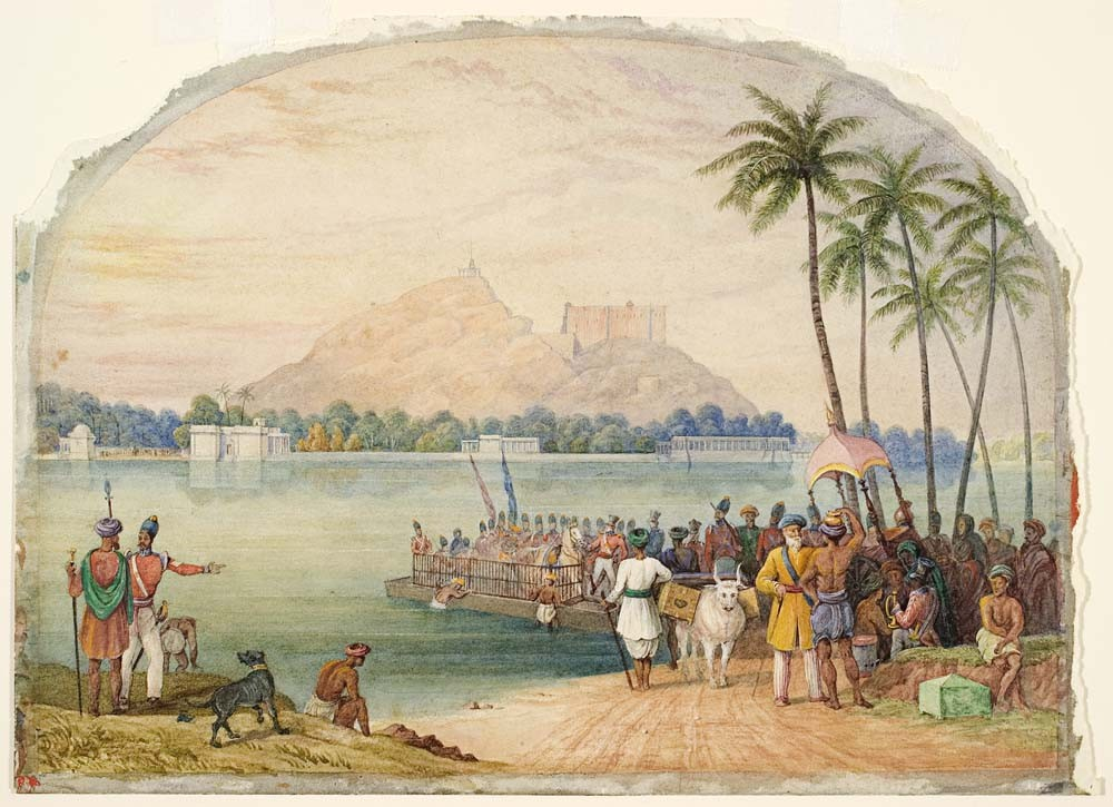 William Daniell Troops crossing a river in India c.1790. Watercolour. Collection of Christchurch Art Gallery Te Puna o Waiwhetū