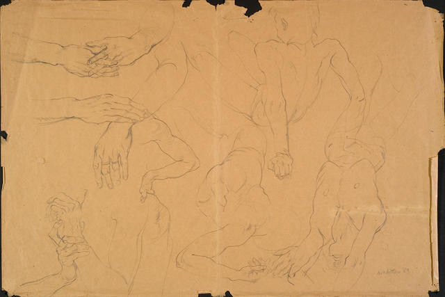 Untitled [sketches of torsos and hands]