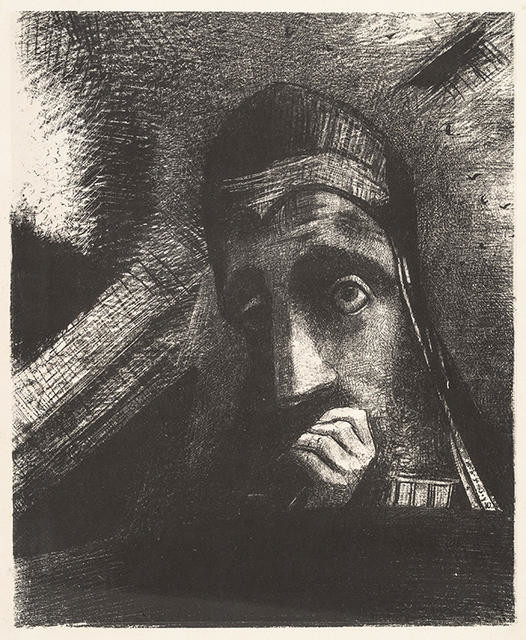 Odilon Redon Dans mon Rêve, je vis au Ciel un Visage de Mystère. (In my dream I saw in the sky a face of mystery)1885 Lithograph. Collection of Christchurch Art Gallery Te Puna o Waiwhetu, purchased with assistance from the Olive Stirrat Bequest, 1986