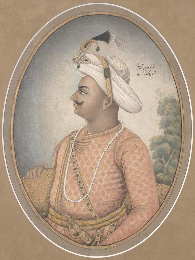 Unknown artist Tipu Sultan undated. Ink, gouache and gold on paper. UC Berkeley, Berkeley Art Museum