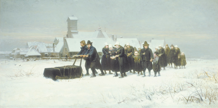 Petrus van der Velden The Dutch Funeral 1875.Oil on canvas. Collection of Christchurch Art Gallery Te Puna o Waiwhetū, gifted byHenry Charles Drury van Asch 1932.