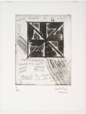 Ralph Hotere Black Union Jack 1984. Etching. Purchased, 1985. Reproduced courtesy of Ralph Hotere