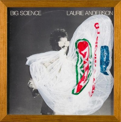Robert Hood Laurie Anderson Big Science 2007. Album cover, vinyl and plastic bag. On loan from the Olivia Spencer Bower Foundation Award Collection.