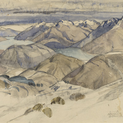 Olivia Spencer Bower Queenstown and the Lake from the Snowfields date unknown. Watercolour and pencil. Collection of Christchurch Art Gallery Te Puna o Waiwhetū, purchased 1976