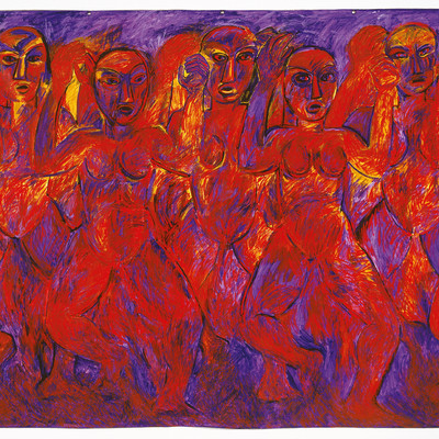 Robyn Kahukiwa Tena I Ruia1987. Acrylic on canvas. Collection of Christchurch Art Gallery, purchased 1989