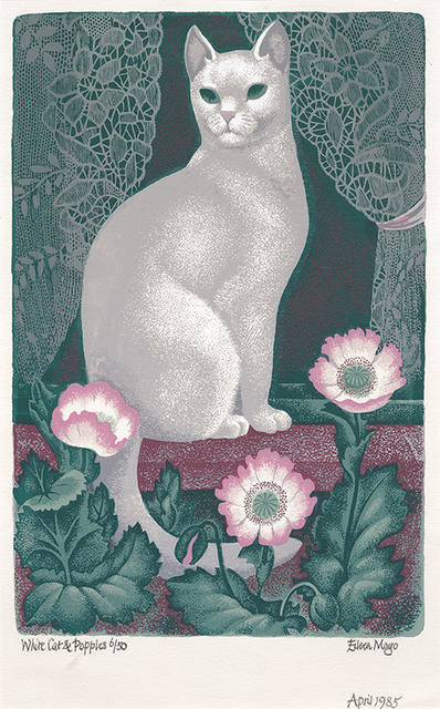 White Cat and Poppies