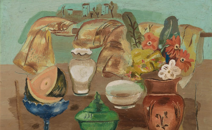 Frances Hodgkins Still Life (detail) c. 1932. Oil on wood panel. Collection of Christchurch Art Gallery Te Puna o Waiwhetū, purchased 1979