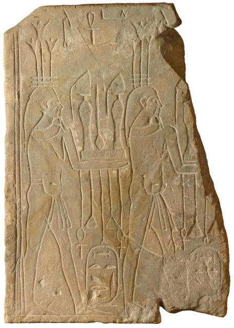 Cartouche of two figures bearing offerings to Nitocris
