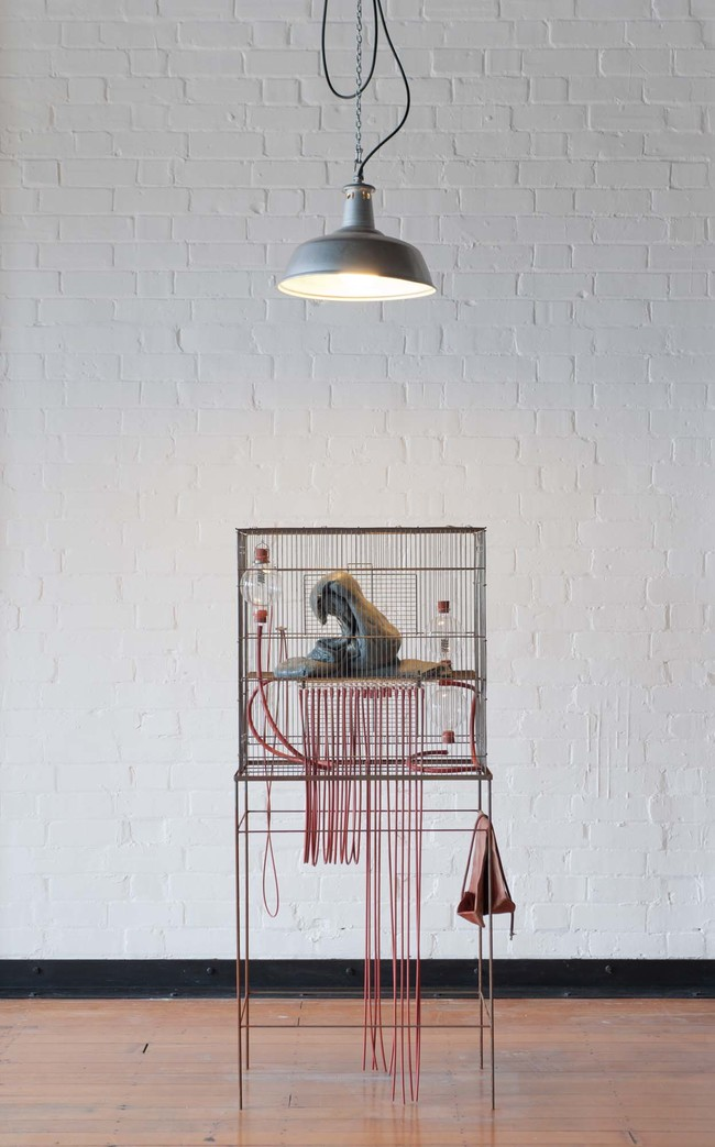 Julia Morison Some thing, for example 2011. Metal cage and stand, melted shopping bags, glass, rubber. Collection of Christchurch Art Gallery Te Puna o Waiwhetū, gift of Chartwell Trust 2011