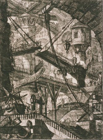 Giovanni Battista Piranesi The Drawbridge, Plate VII (second state) from the series Invenzioni Capric di Carceri 1761. Etching with engraving on paper. Collection of Christchurch Art Gallery Te Puna o Waiwhetū 1984
