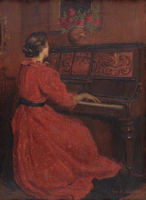 The artist's wife at the piano