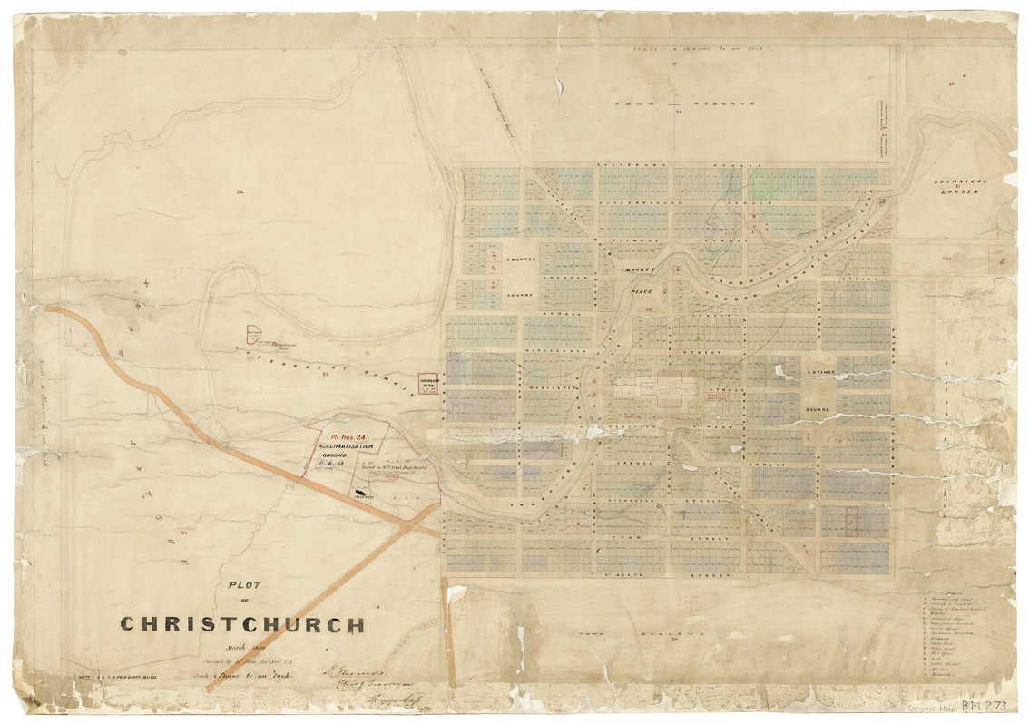 Edward Jollie Black map 273, Plot of Christchurch, March 1850, sheet 1 1850. Ink and watercolour. Archives New Zealand Christchurch Office, archives reference: CAYN 23142 CH1031/179 item 273/1