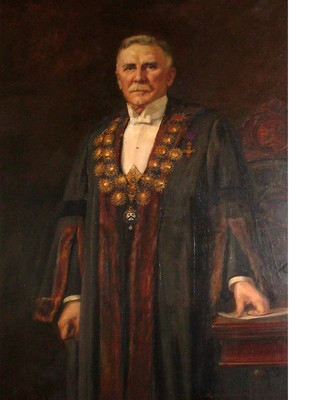Richard Wallwork H. Holland Esq. C.B.E. in Mayoral Regalia. Oil on canvas. Collection of Christchurch Art Gallery Te Puna o Waiwhetū