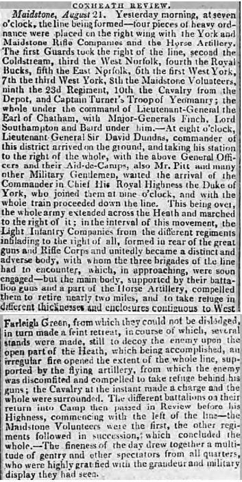 The scene at Coxheath Camp, as described in the Kentish Gazette on Friday 24 August 1804