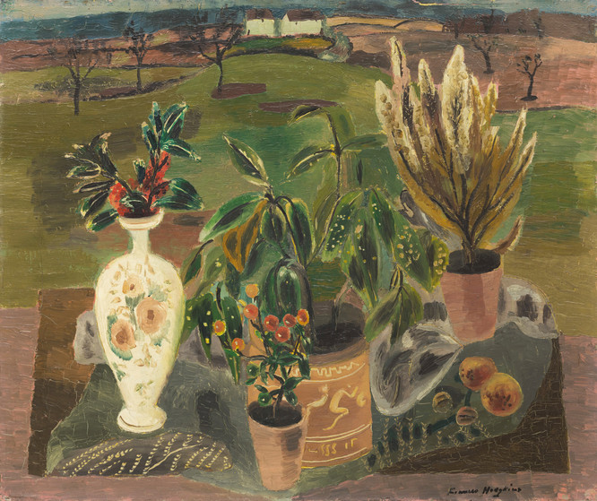 Frances Hodgkins Berries and Laurel c. 1930. Oil on canvas. Collection of Auckland Art Gallery Toi o Tāmaki, purchased with funds from the William James Jobson Trust, 1982