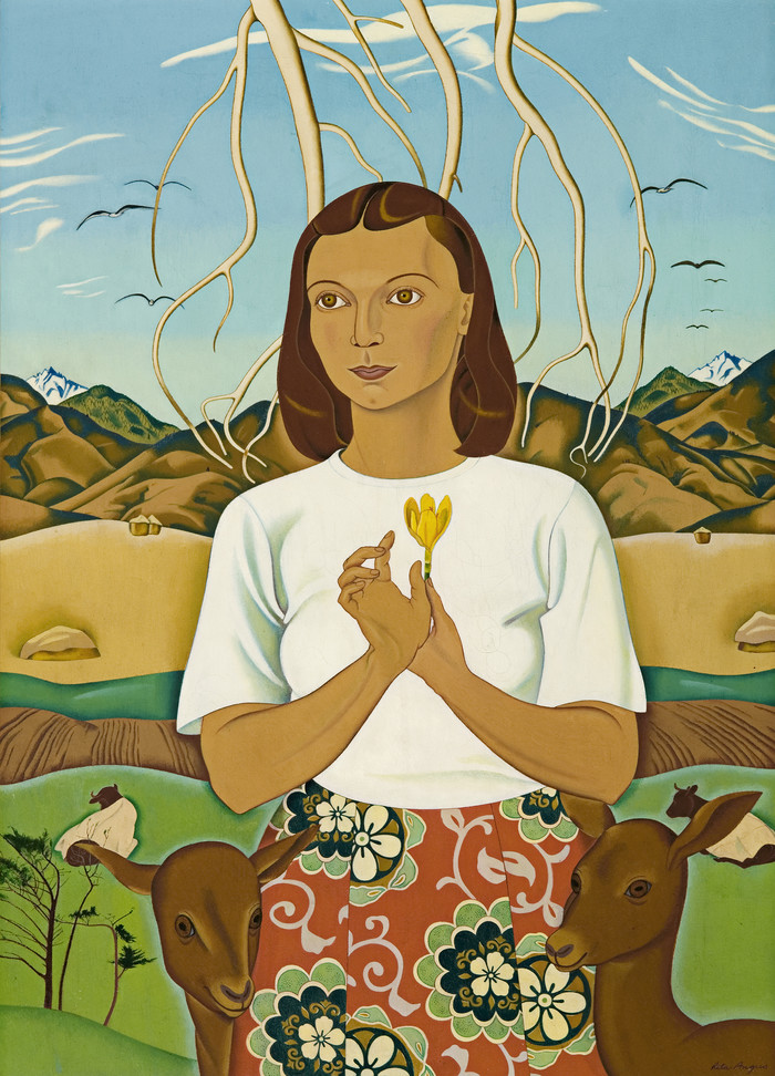 Rita Angus A Goddess of Mercy 1945-1947. Oil on canvas. Collection of Christchurch Art Gallery Te Puna o Waiwhetu 1956. Reproduced courtesy of the estate of Rita Angus