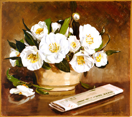 Daisy Osborn From My Garden, White Camellias Oil on canvas. Collection of Christchurch Art Gallery; presented by the artist.