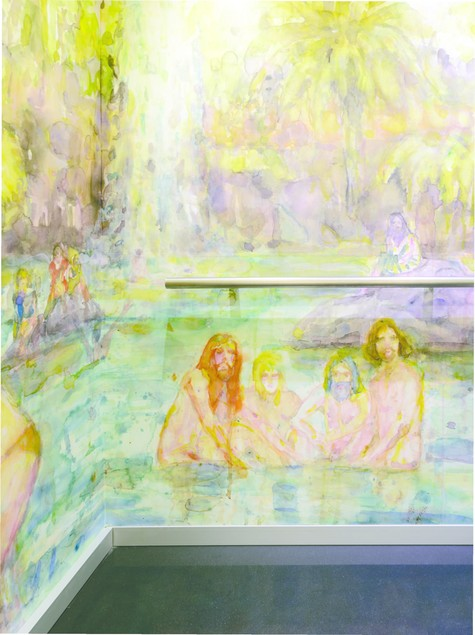 Séraphine Pick Untitled (Bathers) (detail) 2015. Digital print to self-adhesive polyester film, from a watercolour. Courtesy of the artist and Hamish McKay Gallery, commissioned by Christchurch Art Gallery Te Puna o Waiwhetū
