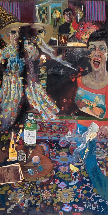 Jacqueline Fahey Mother and daughter quarrelling 1977. Oil and collage on board. Collection of Christchurch Art Gallery Te Puna o Waiwhetū, purchased 1983