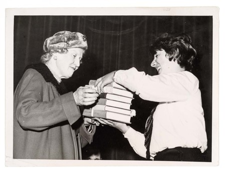 With Helen Percy, Duchess of Northumberland, prize-giving at Duchess's Grammar School, Alnwick, Northumberland, 1963