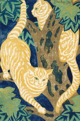 Eileen Mayo Cats in the trees (1931), linocut, Collection Christchurch Art Gallery Te Puna o Waiwhetū, presented by Rex Nan Kivell, 1953.