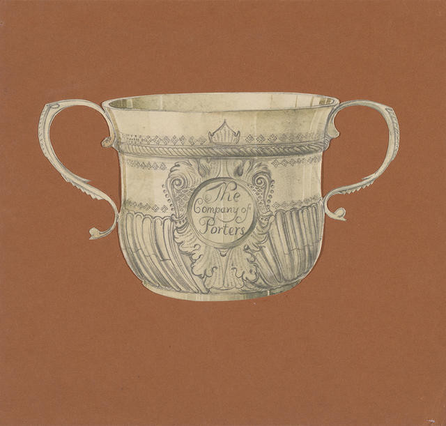 Drawing of a Porringer from the collection of the V & A Museum