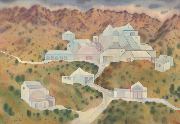 Doris Lusk Imagined Projects II, Limeworks 1983. Acrylic on canvas. Collection of Christchurch Art Gallery Te Puna o Waiwhetū, purchased 1984