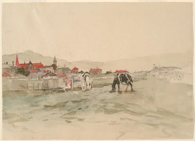 Wellington Landscape With Grazing Horse, Horse And Dray