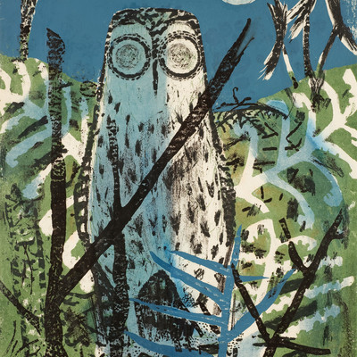 Juliet Peter Morepork and Pungas c.1963–65. Lithograph. Collection of Christchurch Art Gallery Te Puna o Waiwhetū, purchased 2010