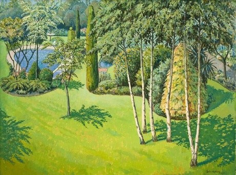 John Oakley Garden 1976. Oil on board. Collection of Christchurch Art Gallery Te Puna o Waiwhetū, purchased 1976