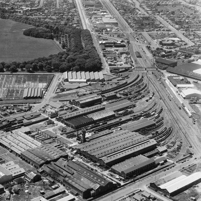 Detail from a White's Aviation photo from November 1947 showing some of the Addington railway workshops in Christchurch, looking east with Moorhouse Avenue at the top parallel to the railway line leading to the then Christchurch station and Lyttelton. Via transpressnz.blogspot.co.nz