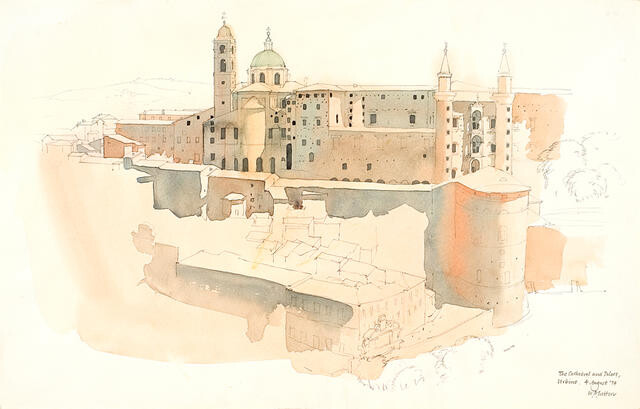 The Cathedral and Palace, Urbino, 4 August 1974