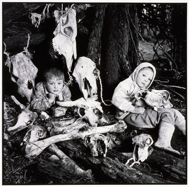 Two boys with their skull collection