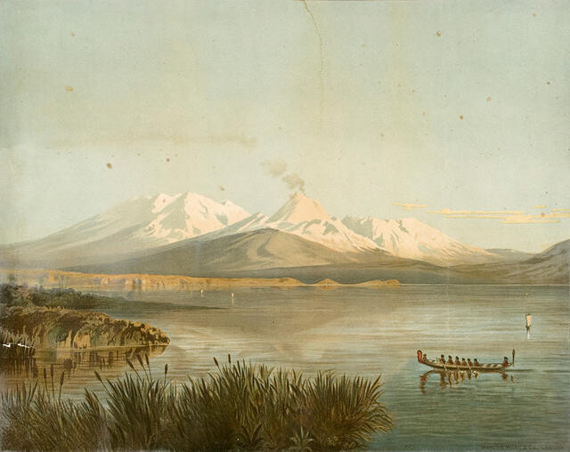 Ruapehu And Tongariro Mountains From Lake Taupo
