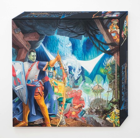 Simon Denny Ascent Box Cover Projection 2017. Commissioned painting, oil on canvas. Collection of Frank and Nico McKay, Auckland