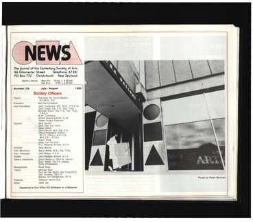 Canterbury Society of Arts News, number 123, July/August 1985