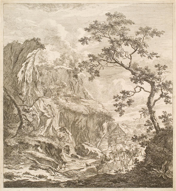 Figures, Cattle, Goats in Landscape