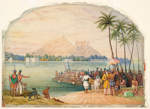 Troops crossing a river in India
