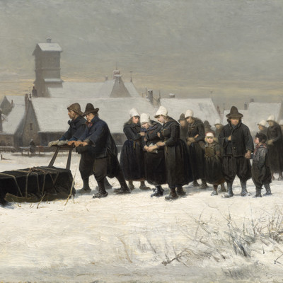 Petrus van der Velden Burial in the Winter on the Island of Marken (The Dutch Funeral) 1875. Oil on canvas. Collection of Christchurch Art Gallery Te Puna o Waiwhetū, gift of Henry Charles Drury van Asch 1932