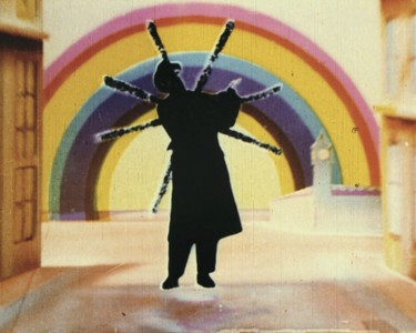 Len Lye Rainbow Dance (video still) 1936. 35mm Gasparcolor sound film; 5min. Courtesy of the British Post Office and the Len Lye Foundation from material preserved and made available by The New Zealand Archive of Film, Television and Sound Ngā Taonga Whitiāhua Me Ngā Taonga Kōrero